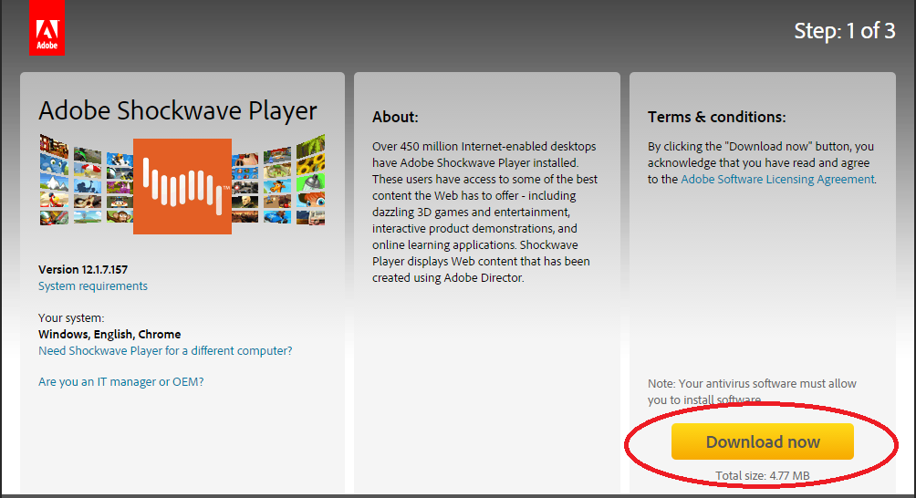 Download adobe shockwave player for free.