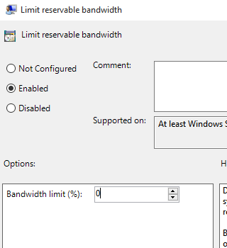 how to set bandwidth limit