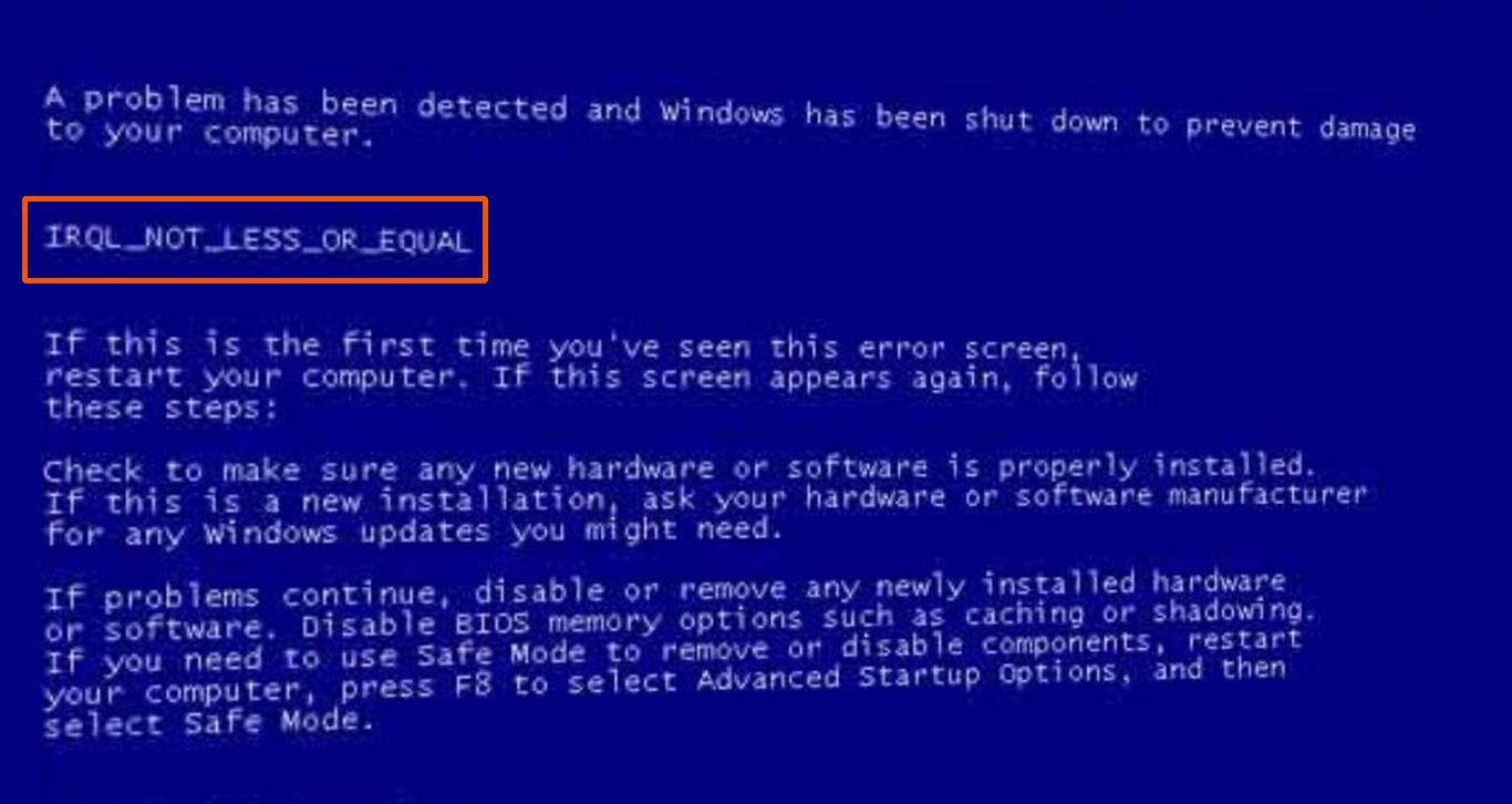 driver irql_less_or_not_equal windows 10 netio.sys